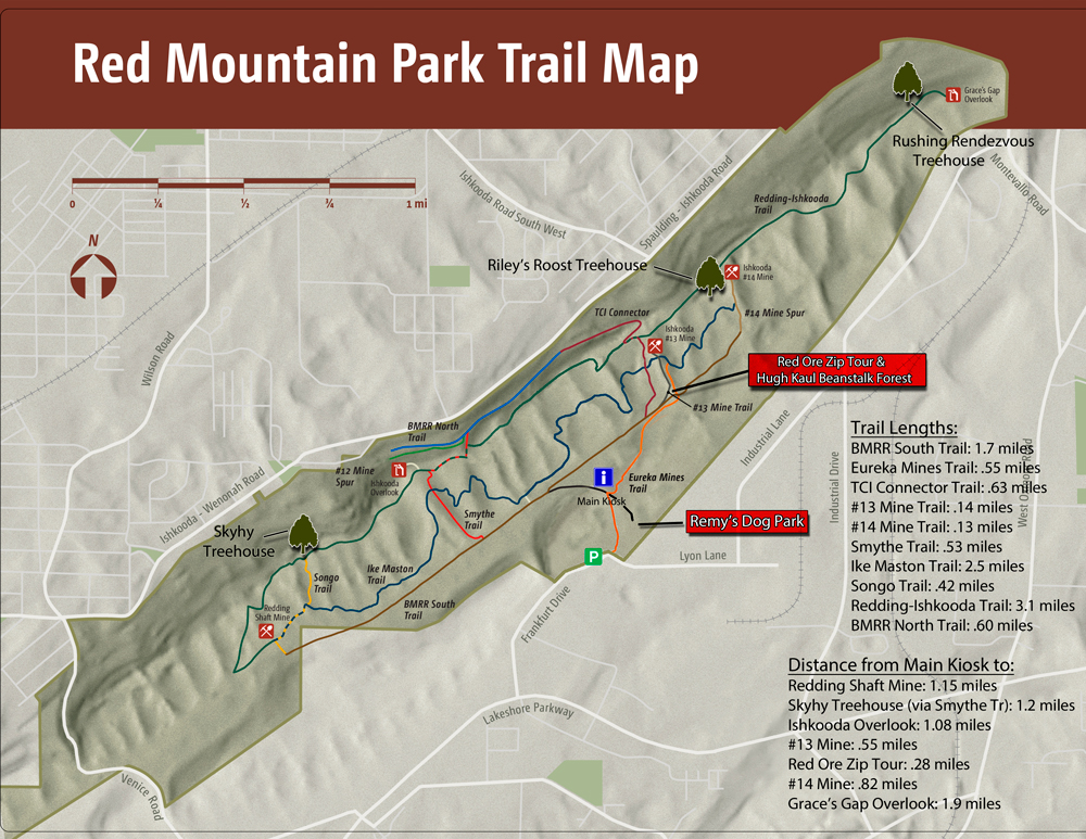 Red Mountain Park Trail Map Aug 2014 with Remy's Dog Park